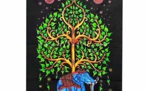 دیوار آویز (بکدراپ) کوچک طرح فیل و درخت زندگی : کد ۳۱۶