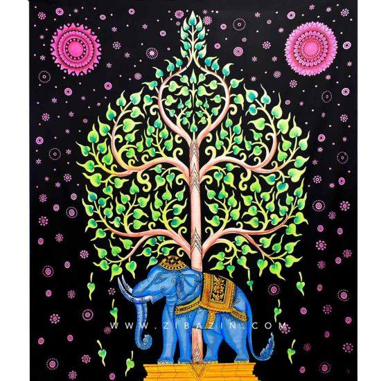 دیوار آویز (بکدراپ) و روتختی دو نفره طرح فیل و درخت زندگی : کد ۲۳۱