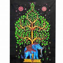 دیوار آویز (بکدراپ) و روتختی تکنفره طرح فیل و درخت زندگی : کد ۱۳۷