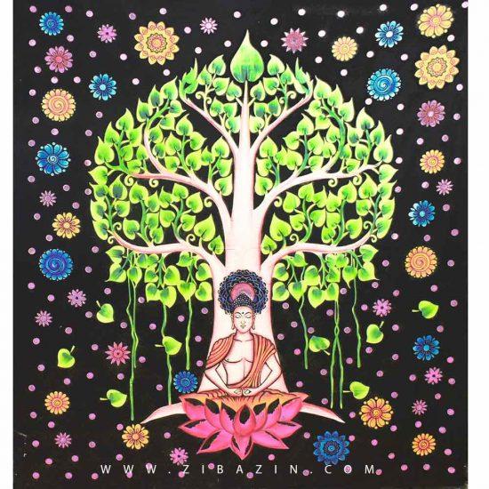 دیوار آویز (بکدراپ) و روتختی دو نفره طرح بودا و درخت زندگی : کد ۲۲۵