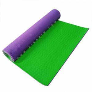 مت یوگا و پیلاتس (PVC) دو لایه استپ دار ۶ میل : بنفش سبز